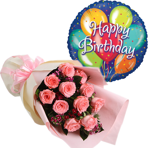 Gifts Idea Flower With Balloon One Dozen Pink Roses W