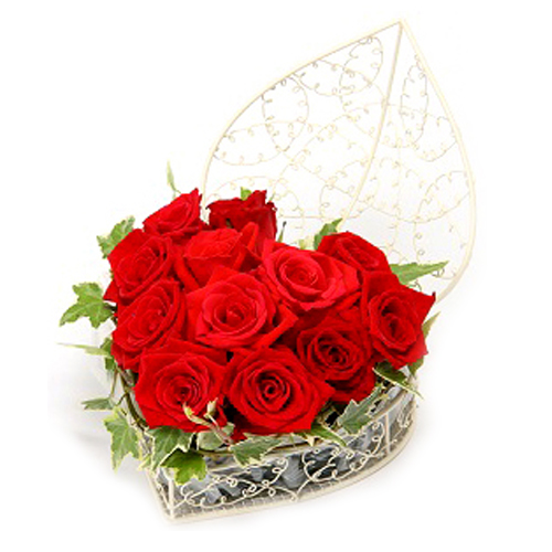 Send Valentines Best Heart Shape Flower Basket To Japan Online