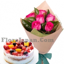 pink rose bouquet with cake to tokyo japan