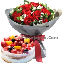 12 Red Rose Bouquet With Berries Trote Cake To Tokyo Japan