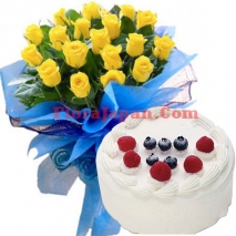 buy yellow roses bouquet with gateau cake japan