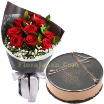 send 12 red roses bouquet with chocolate cake to japan