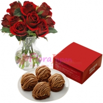 buy roses vase with chocolate cake in tokyo