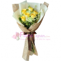 send half dozen yellow roses in bouquet to japan