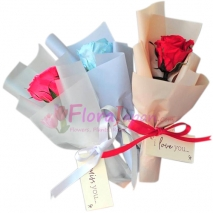 Send 3 Color Single Rose Bouquet To Japan