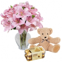 Send Flower Teddy Bear With Ferrero Chocolate To Japan