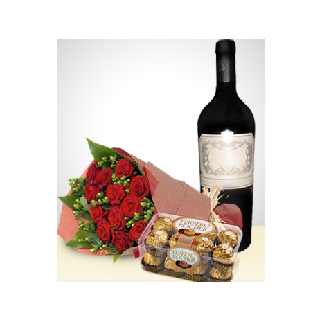 send 12 red roses, ferrero box and grape juice to japan
