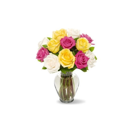 send mixed roses in vase to japan