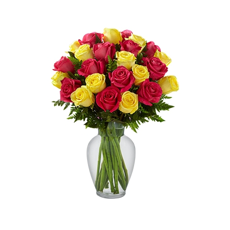 send two dozen mixed color roses in vase to japan