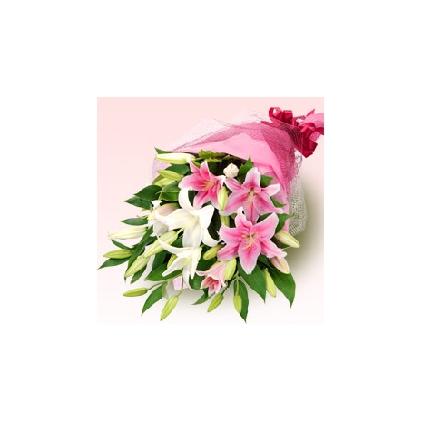 send pink and white oriental lily bouquet to japan
