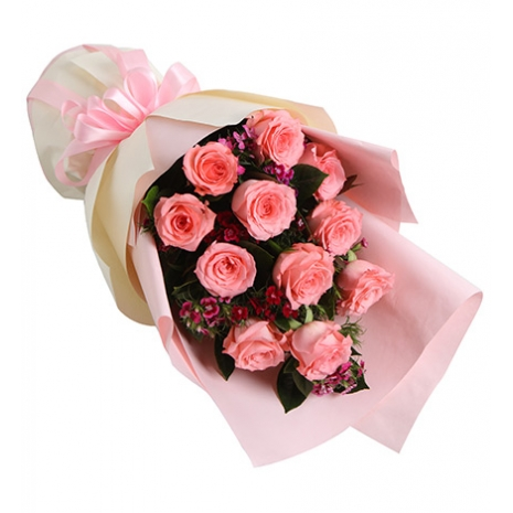 send 12 pink roses bouquet to japan