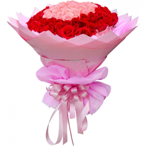 100 pink and red roses bouquet to japan