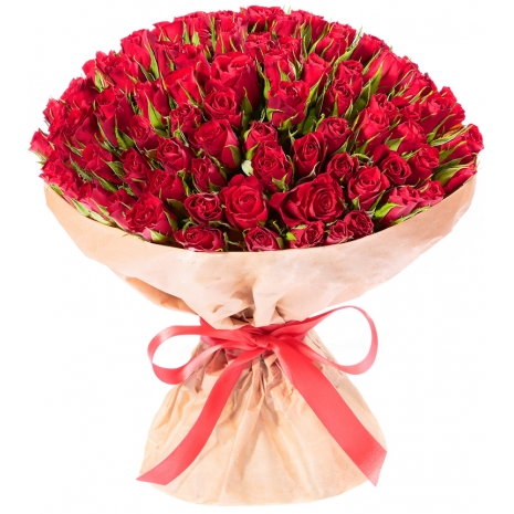 one hundred red roses in bouquet to japan