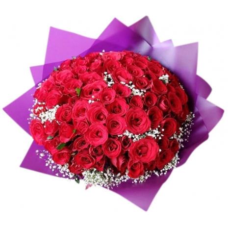 send 100 pcs red roses bouquet to japan