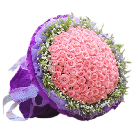 send classic one hundred pink roses bouquet to japan