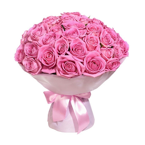 send 100 pink roses in bouquet to japan