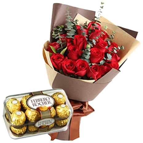 12 red rose bouquet with ferrero chocolate to japan