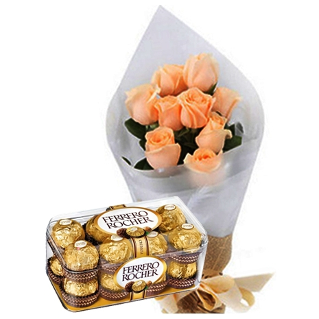 send peach roses with rocher chocolate to tokyo