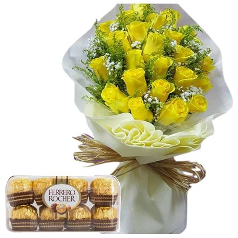 one dozen yellow rose bouquet with ferrero rocher to japan