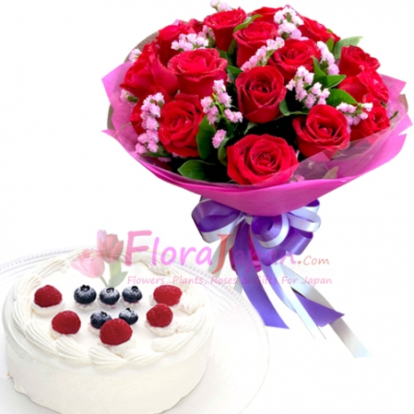 send one dozen roses with gateau fraise cake to japan