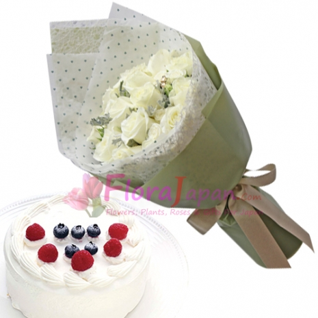 send one dozen white roses with gateau fraise cake to japan
