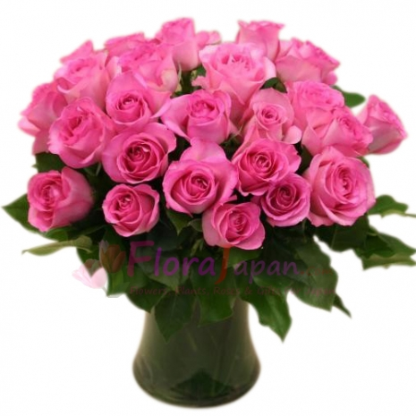 send 24 premium long stem pink roses in vase to japan
