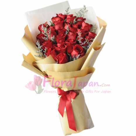 send two dozen red roses in bouquet to japan