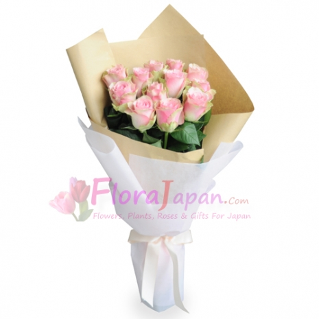 send 12 stalks pink roses in a beautiful bouquet to japan