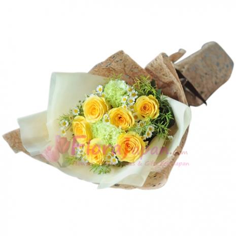 send half dozen yellow roses in bouquet to japan