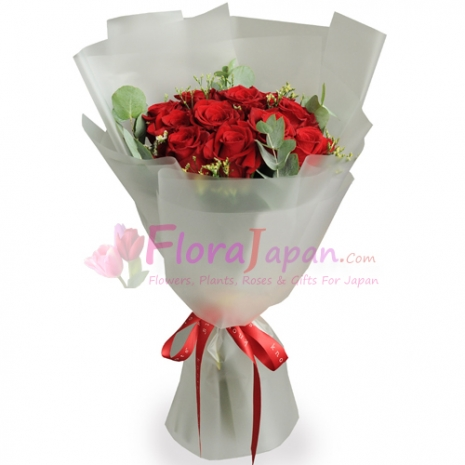 send one dozen stalks of red roses in a bouquet to japan