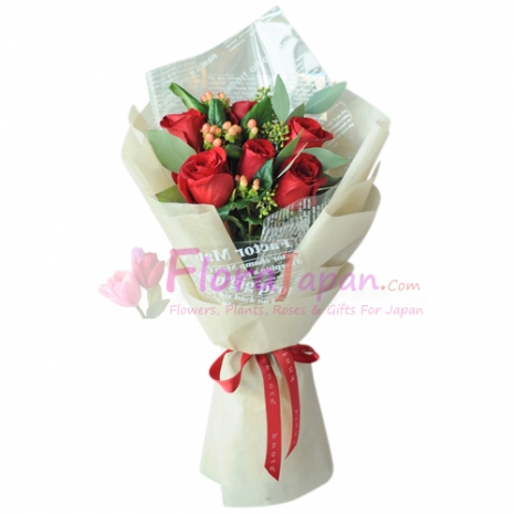 send 6 red roses in bouquet to japan