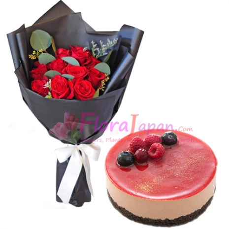 send one dozen red roses with chocolat rouge cake to japan